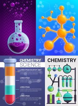 Conjunto de banners de química, estilo de dibujos animados