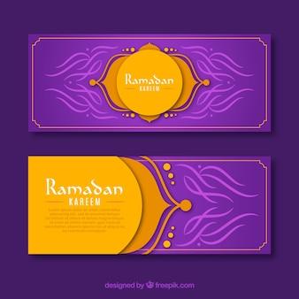 Conjunto de banners de ramadán con ornamentos