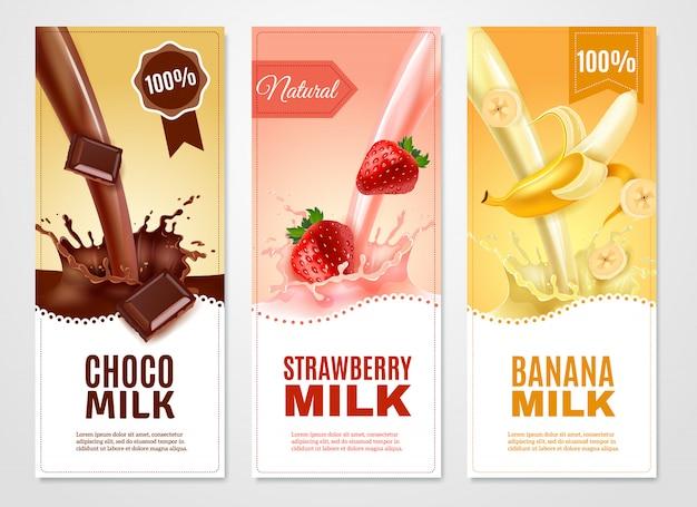 Conjunto de banners realista vertical de leche dulce.