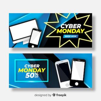 Conjunto de banners realistas de ciber lunes