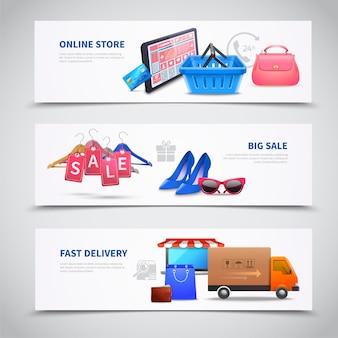 Conjunto de banners realistas de compras