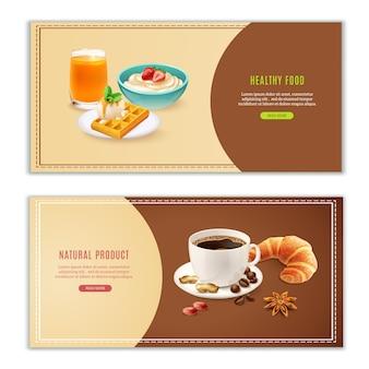 Conjunto de banners realistas de desayuno