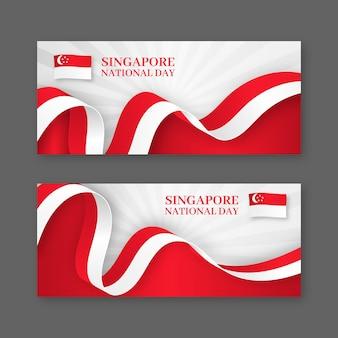 Conjunto de banners realistas del día nacional de singapur