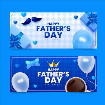 Conjunto de banners realistas del día del padre.