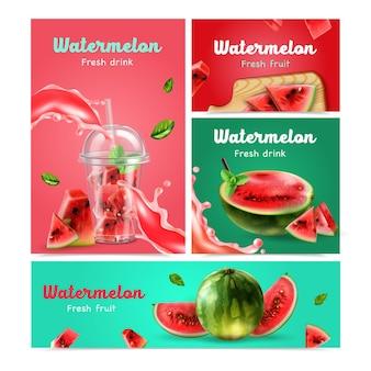 Conjunto de banners realistas de frutas y bebidas de sandía.