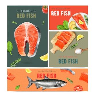 Conjunto de banners realistas de pescado rojo de pescado vivo y plato hecho de salmón aislado