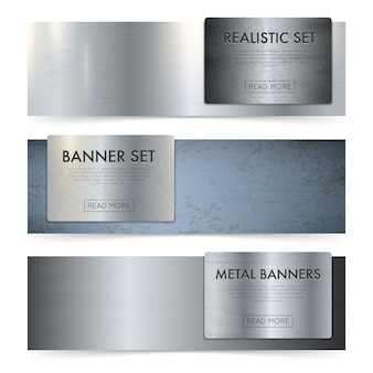 Conjunto de banners realistas de textura de hojas de metal