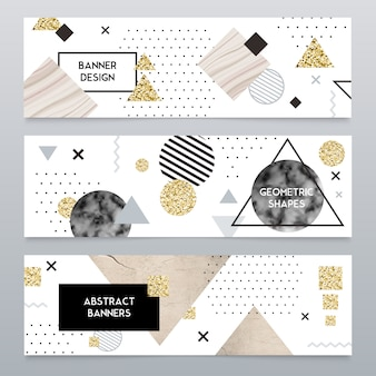 Conjunto de banners realistas de textura de piedra