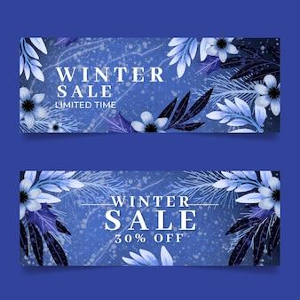Conjunto de banners de rebajas de invierno horizontales en acuarela