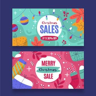 Conjunto de banners de rebajas de navidad dibujados a mano