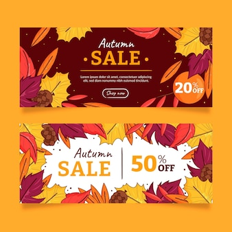Conjunto de banners de rebajas de otoño dibujados a mano