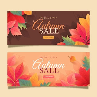Conjunto de banners de rebajas de otoño horizontal degradado