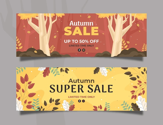 Conjunto de banners de rebajas de otoño plano