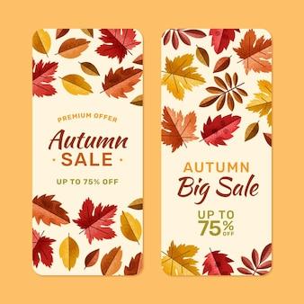 Conjunto de banners de rebajas de otoño verticales dibujados a mano