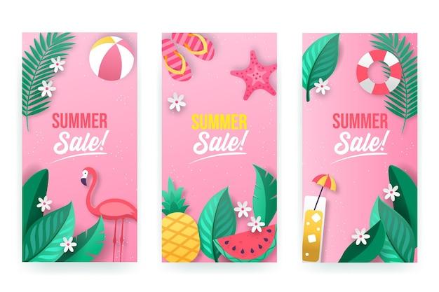 Conjunto de banners de rebajas de verano estilo papel.