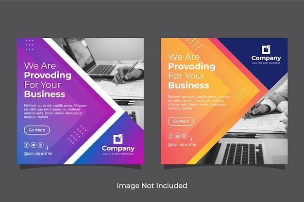 Conjunto de banners de redes sociales empresariales