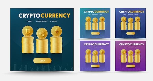 Conjunto de banners de redes sociales con pilas de monedas cripto moneda bitcoint, ripple y ethereum.
