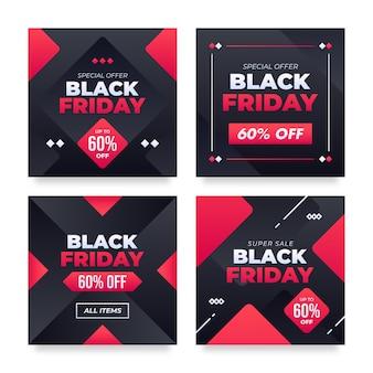 Conjunto de banners de redes sociales de viernes negro
