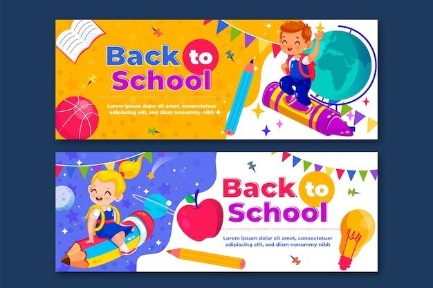 Conjunto de banners de regreso a la escuela dibujados a mano