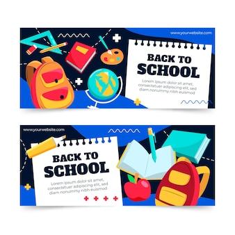 Conjunto de banners de regreso a la escuela.