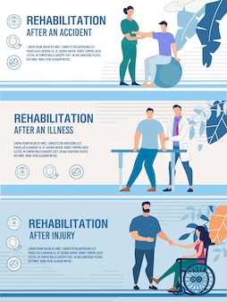 Conjunto de banners de rehabilitación de personas discapacitadas lesionadas