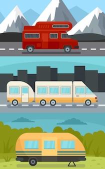 Conjunto de banners de remolque de autocaravana