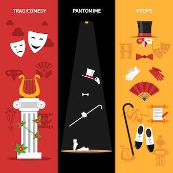 Conjunto de banners de rendimiento teatral