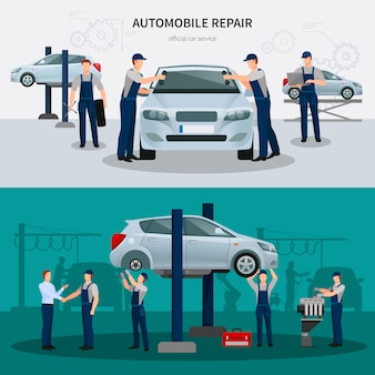 Conjunto de banners de reparación de automóviles