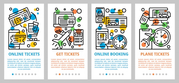 Conjunto de banners de reserva de boletos en línea, estilo de contorno