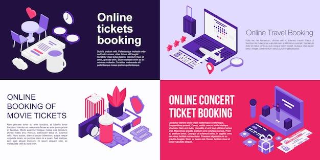 Conjunto de banners de reserva de boletos en línea, estilo isométrico