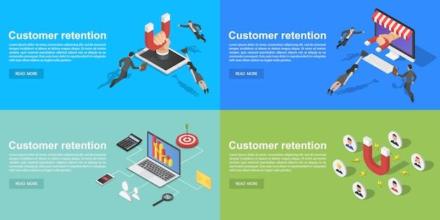 Conjunto de banners de retención de clientes, estilo isométrico.
