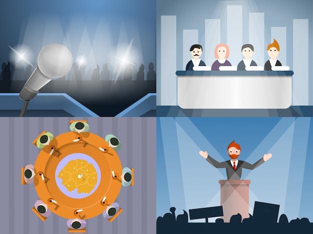 Conjunto de banners reunión política, estilo de dibujos animados