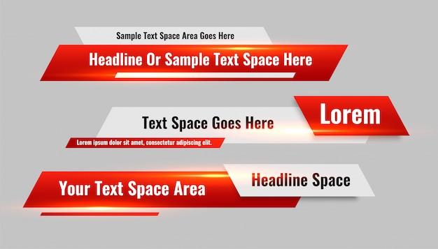 Conjunto de banners rojos de tercer estilo inferior de noticias