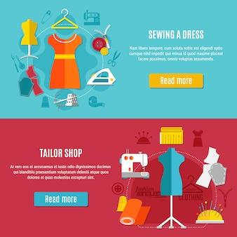 Conjunto de banners de ropa de costura