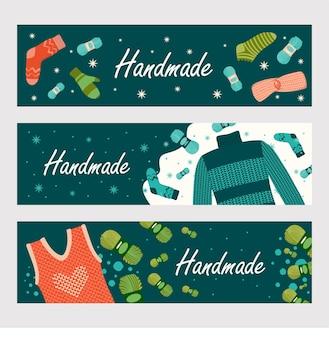 Conjunto de banners de ropa hecha a mano de invierno.