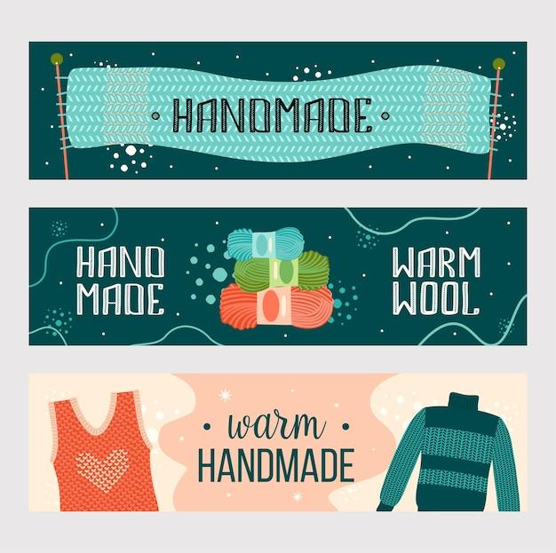 Conjunto de banners de ropa hecha a mano de punto. bufanda caliente, hilo, suéter plantilla de volante