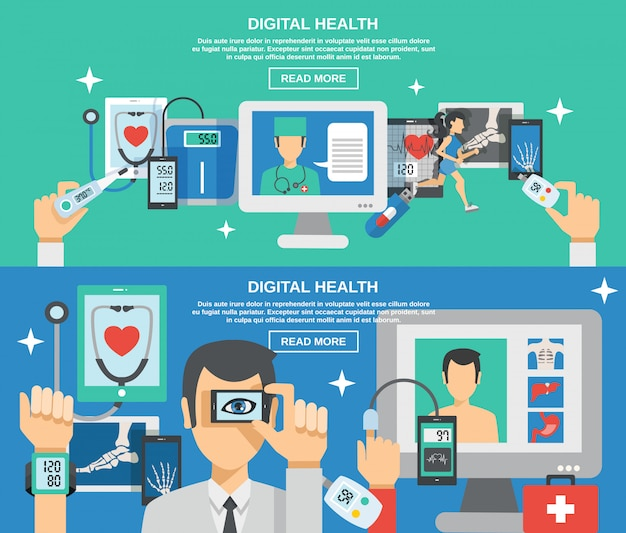 Conjunto de banners de salud digital