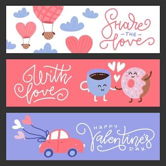 Conjunto de banners de saludo de san valentín de diseño plano. lindos personajes, coche y globo.