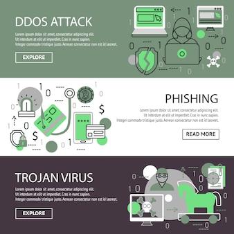 Conjunto de banners de seguridad de internet