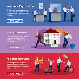 Conjunto de banners de seguros personales y de la casa.