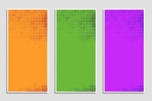 Conjunto de banners de semitono colorido abstracto