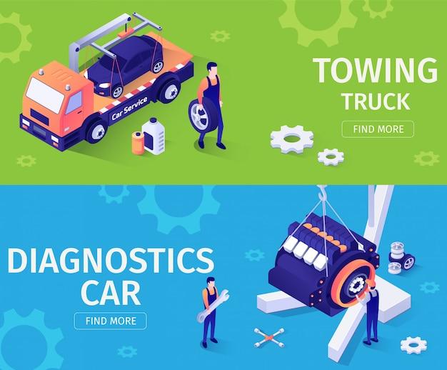 Conjunto de banners para servicio de asistencia y reparación de automóviles.
