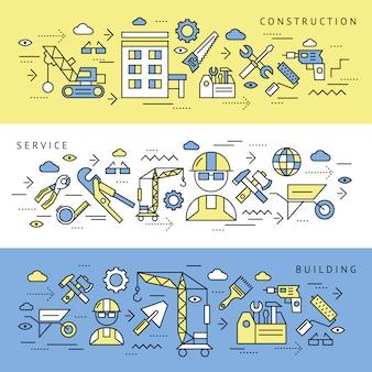 Conjunto de banners de servicio de construcción
