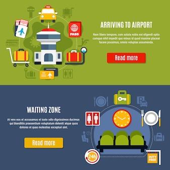 Conjunto de banners del servicio de información en línea del aeropuerto
