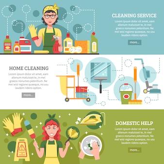 Conjunto de banners de servicio de limpieza