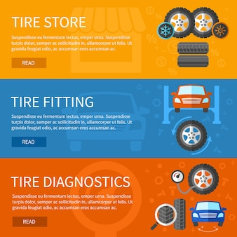 Conjunto de banners de servicio de neumáticos. reparación de automóviles, elemento de automóvil y estación de diagnóstico.