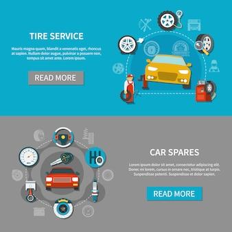 Conjunto de banners de servicio de neumáticos