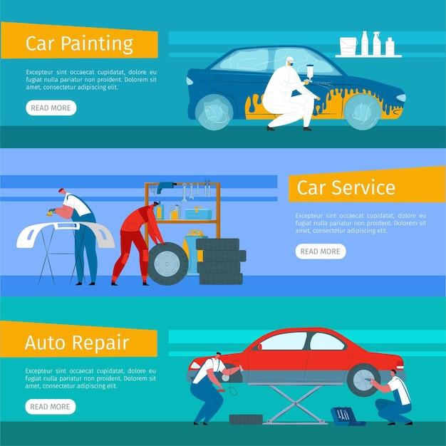 Conjunto de banners de servicio de reparación de automóviles.