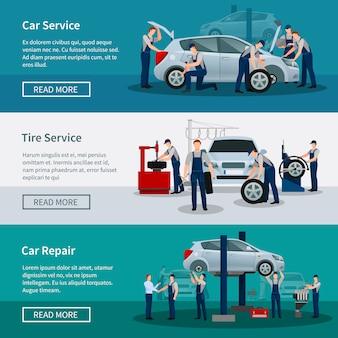Conjunto de banners de servicios de reparación de automóviles