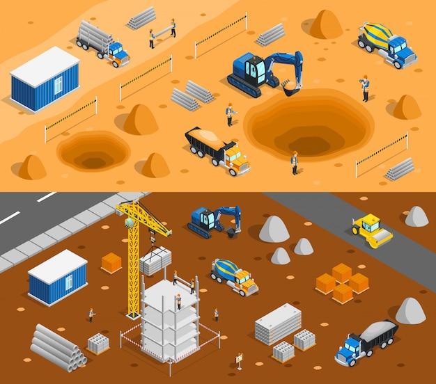 Conjunto de banners de sitio de construcción